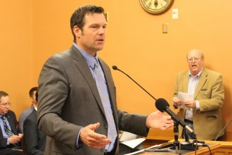 Kansas Secretary of State Kris Kobach speaking in a legislative committee. (File photo by Stephen Koranda)
