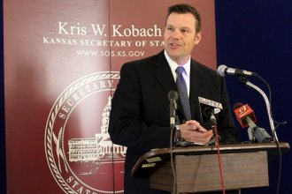 "Secretary of State Kris Kobach called the lawsuit ""frivolous."" (File photo by Stephen Koranda)"