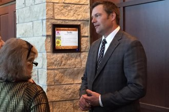 Kansas Secretary of State Kris Kobach is vice chairman of a voter fraud commission that is the subject of a lawsuit filed earlier this year by the American Civil Liberties Union. The ACLU recently added concerns about data security to the lawsuit.  (File Photo / Kansas News Service)