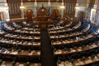 The Kansas House chamber at the Statehouse