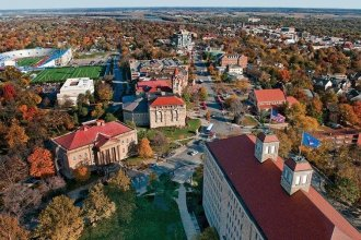 Aerial view, University of Kansas campus in Lawrence.