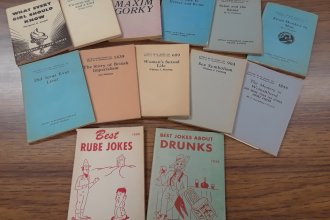 While this photo depicts a small sampling of Little Blue Books, Pittsburg State University owns a nearly complete set of the series, which includes more than 2000 titles.  (Photo courtesy of Janette Mauk, Special Collections, Pittsburg State University.)