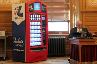 An example of a lottery ticket vending machine brought into the Kansas Statehouse. (Photo by Stephen Koranda)