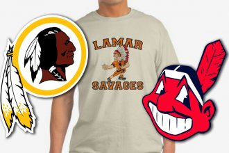 Three examples of Native American sports mascots that many indigenous people find offensive. These examples, from left to right, include the NFL's Washington Redskins, Lamar (Colorado) High School Savages and MLB's Cleveland Indians (Chief Wahoo).