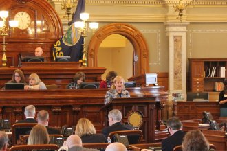 Members of the Kansas House debate Medicaid expansion. (Photo by Stephen Koranda)