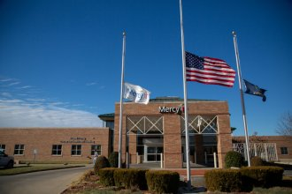 Mercy flew its flags at half-staff in December in honor of former President George H.W. Bush, who died November 30, 2018. (Photo by Christopher Smith for KHN)