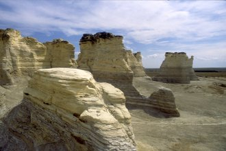 Monument Rocks, located in Gove County, not too far from U.S. Highway 83, which cuts north and south through the western third of the state. (Photo by John Charlton, Kansas Geological Survey)