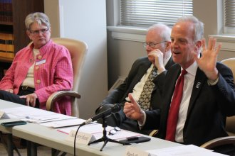Senator Moran speaking at an event earlier this year in Topeka. (Photo by Stephen Koranda)
