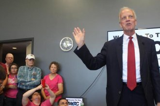 U.S. Sen. Jerry Moran speaks at a town hall meeting Thursday in Palco where he discussed the GOP bill to repeal and replace the Affordable Care Act. (Photo: Jim McLean, Kansas news Service)