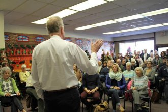 U.S. Senator Jerry Moran tells a town hall meeting in Frankfort that he is opposed to efforts by the Trump administration to do away with the VA health care system. (Photo Credit: Jim McLean, Kansas News Service)