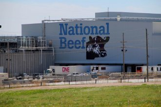 At least three workers at National Beef in Dodge City have died due to COVID-19. In Kansas, 17 meatpacking plant workers have died. (Photo by Corinne Boyer, Kansas News Service)