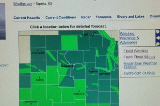 National Weather Service Topeka's online map showing flood watches and warnings for all of northeast and east-central Kansas, as of 11:45 am, Wednesday, May 8, 2019.