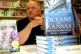 Michael J. Everhart, author of Oceans of Kansas, at a book signing event.