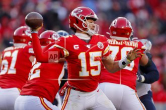 Kansas City Chiefs' Patrick Mahomes throws during the second half of the NFL AFC Championship football game against the Tennessee Titans Sunday, January 19, 2020, in Kansas City.  (AP Photo by Jeff Roberson)