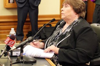 Phyllis Gilmore, secretary of the Kansas Department for Children and Families, taking questions from state lawmakers.  (File Photo / Kansas News Service)