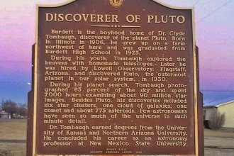 Here's the historical marker you'll find in Burdett, Kansas, summarizing Clyde Tombaugh's amazing discovery: Pluto!  (Photo by Kimberly Fertig)