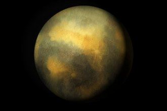 "An artist's rendition of the dark, mysterious and icy orb known as Pluto. This summer, NASA's New Horizons spacecraft should give us a more definitive picture of the so-called ""dwarf planet,"" discovered by Kansan Clyde Tombaugh."