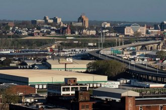 A view of the West Bottoms and downtown Kansas City, Kansas, from Ermine Case Jr. Park in April 2020. (Photo by Julie Denesha for the Kansas News Service)