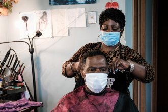 One of the people interviewed for the third season of the My Fellow Kansans podcast is Montella Wimbley, who owns Profiles Beauty and Barber Salon in Wichita. (Photo by Brian Grimmett / Kansas News Service)