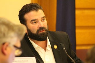 Democratic Representative Jarrod Ousley was one of the lawmakers who pushed for the formation of the child welfare task force. (Photo by Madeline Fox / Kansas News Service)