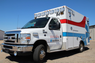 Finney County EMS staffs only three ambulances to deal with a growing number of COVID-19 patients. (Photo by Corrine Boyer, Kansas News Service)