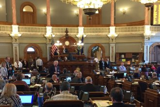 The Kansas House chamber during the debate. (Photo by Stephen Koranda)