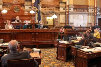 Kansas Senators debate the budget bill. (Photo by Stephen Koranda)