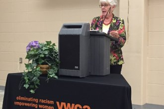 Former Kansas Insurance Commissioner Sandy Praeger, a Republican, speaking Wednesday at the Topeka Y.W.C.A about changes Congress should make to fix the Affordable Care Act. (Photo credit: Jim McLean)
