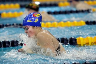KU Sophomore Kate Steward is a two-time Big 12 champion in the 200-yard breaststroke.  (Photo by Laura Jacobsen, KU Athletics.)