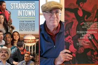 Poster for Strangers in Town, John Tibbetts with poster of Making Music History