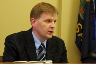 Budget Director Shawn Sullivan speaking to reporters Thursday. (Photo by Stephen Koranda)