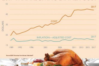 An American Farm Bureau Federation survey found that an average Thanksgiving dinner this year will cost about 75 cents less than last year.