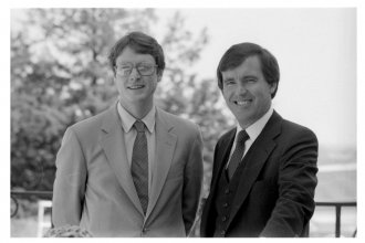 Lt. Governor Tom Docking (left) and Governor John Carlin in a photo taken sometime in the 1980s. (Photo courtesy of the Kansas Historical Society's Kansas Memory project)