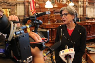 Senate President Susan Wagle speaking to reporters earlier this year. (Photo by Stephen Koranda)