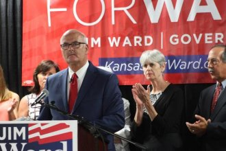 Kansas House Democratic Leader Jim Ward announces he is joining the race for governor during an event in Wichita. (Photo: Nadya Faulx, KMUW)