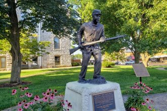 Statue of a Union soldier from the 1st Kansas Colored Volunteers, commemorating the Battle of Island Mound, which is believed to be the first time black Union soldiers fought against Confederate soldiers during the American Civil War. (Photo by Peggy Buhr)