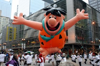 Fred Flintstone balloon, as seen in a Macy's Thanksgiving Day Parade in New York City.