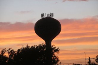 Sunset over the water tower in Scott City, Kan.