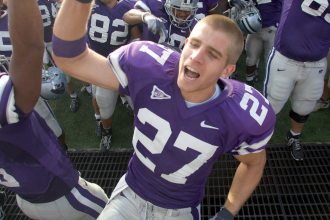 Number 27, Jordy Nelson, was a standout player and YouTube celebrity at Kansas State University. (AP photo / Kelly Glasscock)