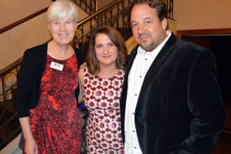 Sheri Hamilton, center, shown here with Kaye McIntyre and J. Schafer, worked at KPR for 18 years before accepting a position at KU Endowment in 2015.