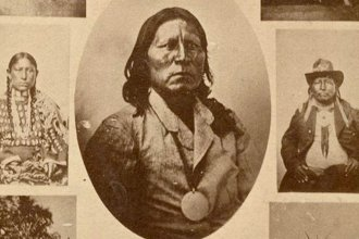 This carte-de-visite is a composite of Native American images believed to have been made in the late 1860s and early 1870s by William S. Soule. At least some of the images were likely made in Indian Territory; some may have been made in Kansas. The featured photo in the center of this composite is Satanta, the Kiowa chief. (Photo Courtesy of Kansas Historical Society/kansasmemory.org)