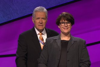 "KPR ""All Things Considered"" host, Laura Lorson, with Alex Trebek, host of ""Jeopardy!"" (Photo Courtesy of Sony Pictures)"