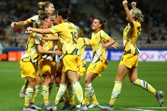 Australia celebrates a goal during its knockout round match against Norway during the Women's World Cup in France in June. Football Federation Australia announced a new deal on Wednesday to improve pay and conditions for the women's team, known as the Matildas.