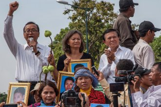 Leaders of the opposition Cambodia National Rescue Party, (from left) Sam Rainsy, Mu Sochua and Kem Sokha, give speeches in Phnom Penh in 2014. Rainsy and Sochua now live in self-imposed exile outside the country, while Sokha has been jailed since 2017.