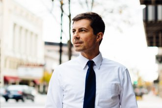 Democratic presidential candidate Mayor Pete Buttigieg in South Bend, Ind.