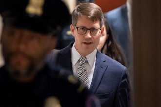 U.S. career diplomat Christopher Anderson arrives to review his testimony as part of the House impeachment inquiries on Capitol Hill on Nov. 7.