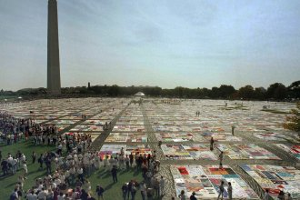 The Names Project AIDS Memorial Quilt on display near the Washington Monument in Washington D.C. in October 1992.  Then 21,000 panels, the quilt has more than doubled by 2019.