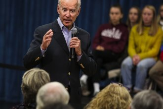 "Former Vice President Joe Biden at a town hall last month. On Thursday, Biden got into a heated exchange with an Iowa voter, calling the man a ""damn liar."""