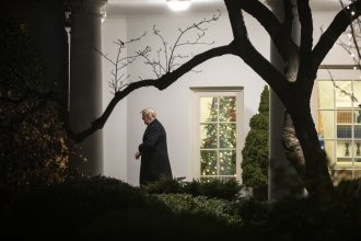 President Trump exits the Oval Office on his way to a campaign rally in Hershey, Pa., Tuesday evening.
