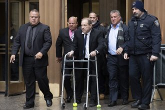 Harvey Weinstein leaves court following a hearing over allegations he violated bail conditions by mishandling his electronic ankle monitor, Dec. 11, 2019 in New York.